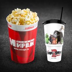 Детский Комбо(попкорн детский солёный+разливной напиток в сувенирном стакане 0,5л)