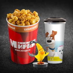 Детский Комбо(попкорн детский карамельный+разливной напиток в сувенирном стакане 0,5л +топпер)