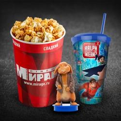 Детский комбо (попкорн V46 сладкий + разливной напиток в сувенирном стакане 0,5л.+ один топпер)